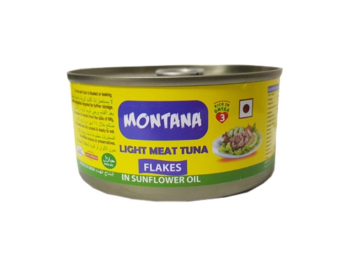 MONTANA LIGHT MEAT TUNA FLAKES IN SUNFLOWER OIL 185 GM